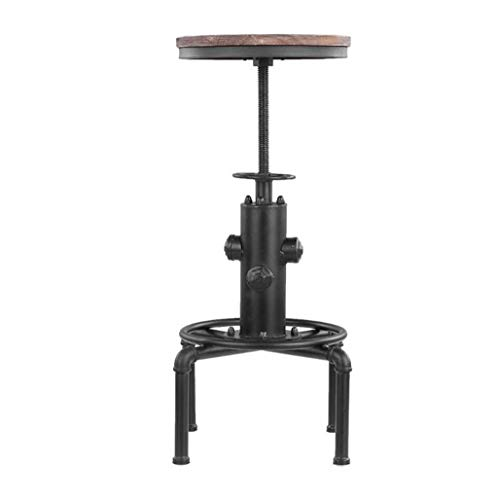 YUYUDS Bar Table and Chair Furniture Retro Solid Wood Wrought Iron Creative Chair Rotating Lifting Adjustable (Color : Black)