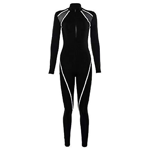 NHFGF Sportanzug für Damen, langärmelig, Sportbekleidung, für Herbst und Winter, mit Reißverschluss, Schwarz Gr. L, Schwarz