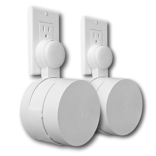 Google WiFi Outlet Holder Mount: [New 2020 – Present Version – Round Plug] The Simplest Wall Mount Holder Stand Bracket for Google WiFi Routers and Beacons - No Messy Screws! (2-Pack)