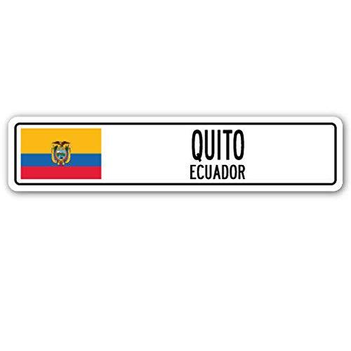 TNND Quito Ecuador Straßenschild, Ecuadorianische Flagge, Stadtland-Straßen-Wandschild, 10,2 x 40,6 cm