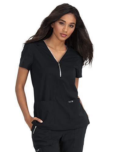KOI Basics 398 Women's Marie V-Neck Scrub Top Black S