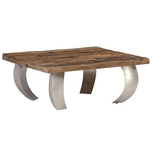 vidaXL Opium Couchtisch Sofatisch Kaffeetisch Tisch Altholz und Stahl 80×78×35