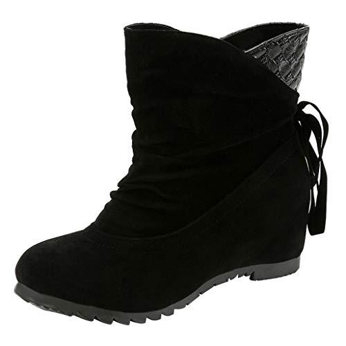 Longra Boots Stivaletto Basso Tacco Stivali a Gamba Larga Donna Stivali Scarpe Basse da Donna Piatte Nessuna Cerniera Stivaletti Tronchetti Autunno Inverno