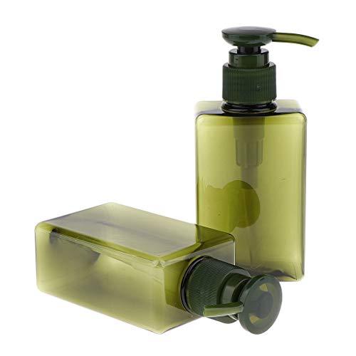 MagiDeal 2pcs 150 Ml Flacon de Voyage Plastique Contenant Cosmetique Vide Distributeur Bouteille Gel Douche Shampooing Lotion - Vert