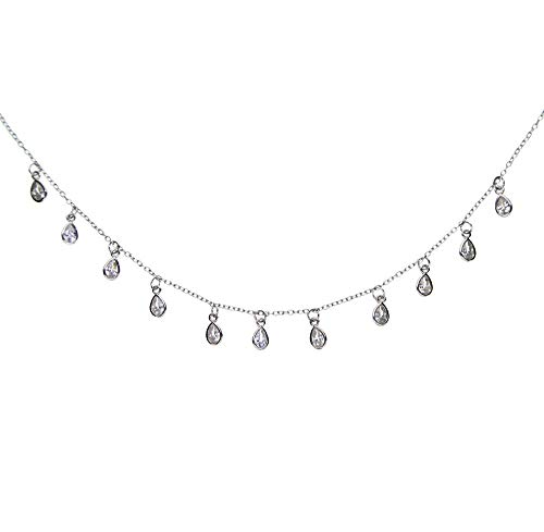 Zjxxm 33+7cm AAA Sparking Bling Drop Cubic Zirconia Statement Charm Chain 925 Sterling Silver Delicate Thin Chain Chocker Necklace