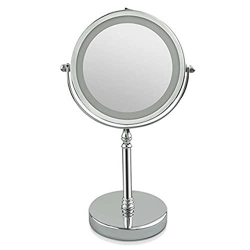 Wolfberrymetal Espejo de Maquillaje con luz LED Mesa de Forma Redonda cosmética Espejo de Maquillaje de Escritorio retroiluminado de Doble Cara