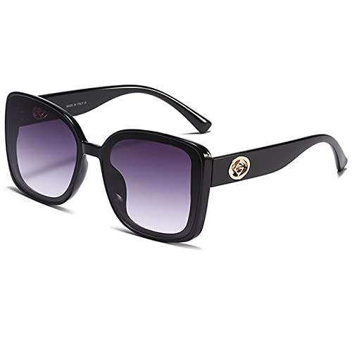 LQG Nuevas Gafas de Sol para Las Mujeres Glasas de Moda Personalidad de la Fiesta UV400 Protection Brand Classic High Class Gafas,Negro