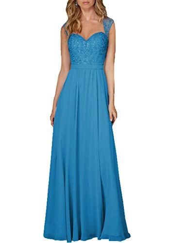 Damen Abendkleid Lang Hochzeitskleid Chiffon A-Linie Ballkleid Brautjungfernkleider Ärmellos Festkleid Meerblau 54