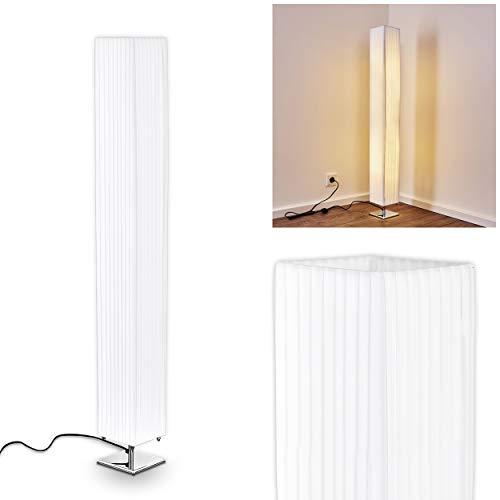 Stehlampe Newtok, moderen Stehleuchte aus Textil/Stoff in Weiß, 2 x E27-Fassung, max. 40 Watt, Mit Fußschalter am Kabel, auch geeignet für LED Leuchtmittel