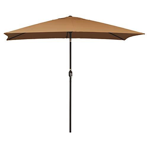 Sundale Outdoor Rectangular Patio Umbrella with Crank and Tilt, Aluminum, 10 by 6.5-Feet (Tan)