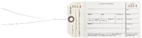 "Aviditi G19023 10 Point Cardstock #8 Pre-Wired 2 Sided Carbonless Stub Style Inventory Tag, ""Number 0500-0999"", 6-1/4"" Length x 3-1/8"" Width, White/Manila (Case of 500) by Aviditi"