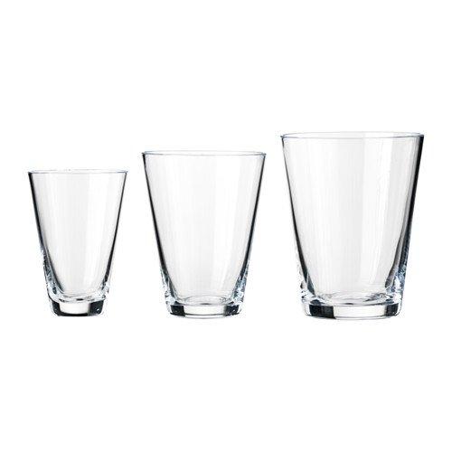 IKEA Schnapsgläser-Set Ryssby Set mit DREI feinsten Gläsern in den Größen 6 cl (7 cm hoch), 12 cl (8 cm hoch) und 20 cl (9 cm hoch) - MUNDGEBLASEN - spülmaschinefest