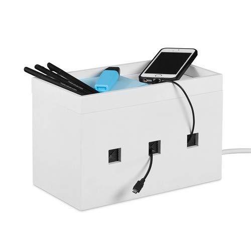 Relaxdays Kabelbox bamboe, stekkerdoos & kabel verbergen, kabelbeheer bureau, HBT 16,5 x 25,5 x 14 cm, wit