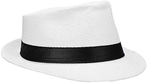 Wilhelm Sell® Strohhut Panama - Sonnenhut, Fedora Hut in weiß mit schwarzem Stoffband (01 Stück - weiß)