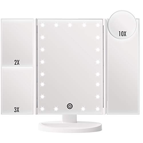 FASCINATE Trifold Vanity Mirror with Lights, Lighted up Makeup Mirror 2X/3X/10X Magnification, 21 LED Touch Screen Dimming, Dual Power Supply, 180° Rotation Portable Light Up Mirror (White)