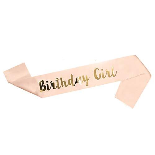 LINVINC Or Rose Echarpe Anniversaire - Happy Birthday 16/18/21/30/40/50/60 Ans Sash d'Anniversaire en Satin pour Femme Fille Fournitures de Fête d'Anniversaire Décoration Accessoires, Birthday Girl