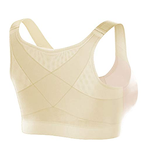 Liveday Women Yoga Sports Wireless Posture Support Bra Breathable Front Closure Underwear