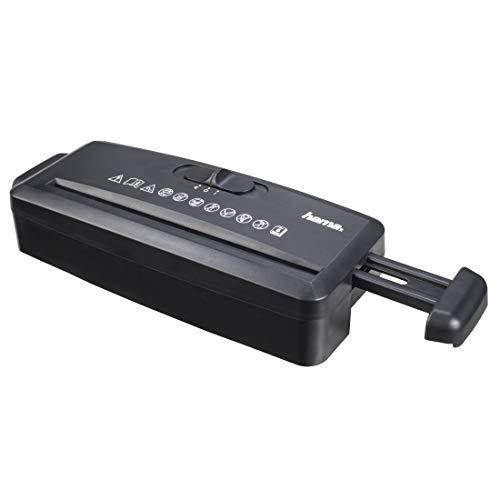 Hama Aktenvernichter-Aufsatz (Streifenschnitt 8 mm, bis zu 6 Blatt Papier, Strip-Cut-Schredder, Aufsatzschredder für Papierkorb, Rücklauffunktion, Sicherheitsstufe P1, Schutzklasse 1) schwarz