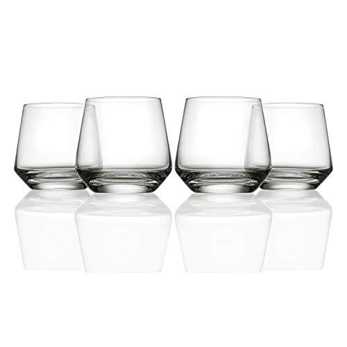 Schott Zwiesel Pure Glassware - Short Tumblers - Whiskey Glasses - Set of 4-389ml