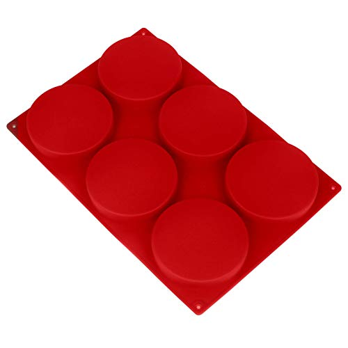 6-Cavity Large Cake Molds Silicone Round Disc Resin Coaster Mold Non-Stick Baking Molds, Mousse Cake Pan, French Dessert, Candy, Soap (Dark Red)