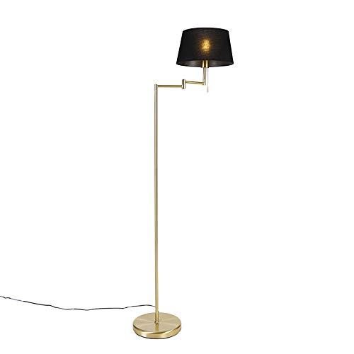 QAZQA Zwarte kap - Lámpara de techo ajustable de latón con diseño clásico y antiguo, iluminación interior para tiendas, salón, dormitorio, acero, tela, longitud LED, E27, máx. 1 x 60 W