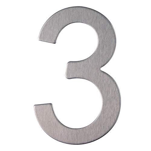 Edelstahl Hausnummer - Design Türnummer - Höhe 76mm - Aufkleber (3)