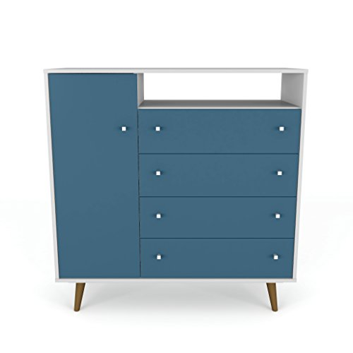 Manhattan Comfort 210BMC63 Liberty Modern Bedroom Armoire and TV Stand, White/Aqua Blue