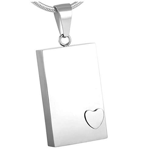 Wxcvz Cremation Urn Necklace Stainless Steel Urn Square Urn With Prominent Heart Cremation Urn Pendant Necklace Fashion Jewelry