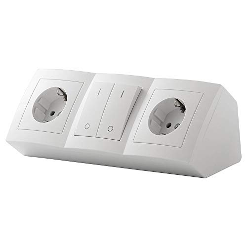 Möbel-Steckdose 2-fach schaltbar Küche oder Büro – Steckdosenleiste mit Schalter in weiß aus hochwertigem Kunststoff ideal für Arbeitsplatte, Tischsteckdose oder Unterbausteckdose mit 2
