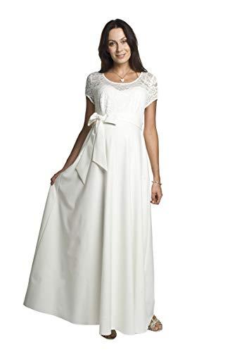 Torelle Maternity Wear Brautkleid lang für Schwangere Damenkleid Weiss Umstandskleid, Modell: Natalie, Creme, M