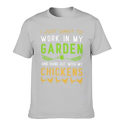 Camiseta para hombre con diseño de texto en alemán 'Arbeit in Mein Garten Hang Out con gallinas impresas, ropa diaria mágica Gris plateado. M