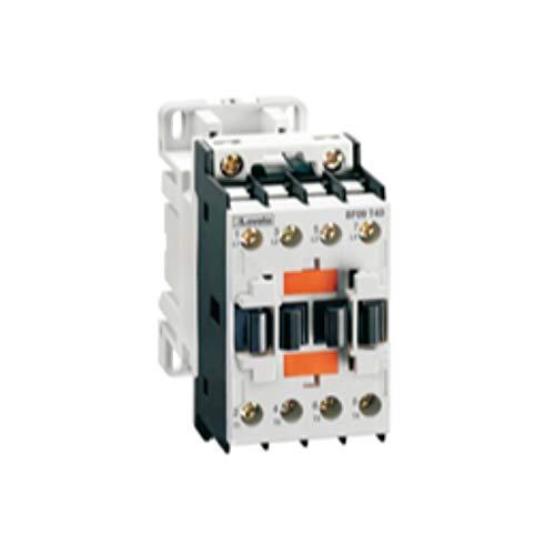 Contactor tetrapolar, de 25A, AC1, bobina 24V DC, de bajo consumo, 16kW, 400V, 5 x 11 x 9 centímetros, color gris claro (Referencia: BF09T4L024)