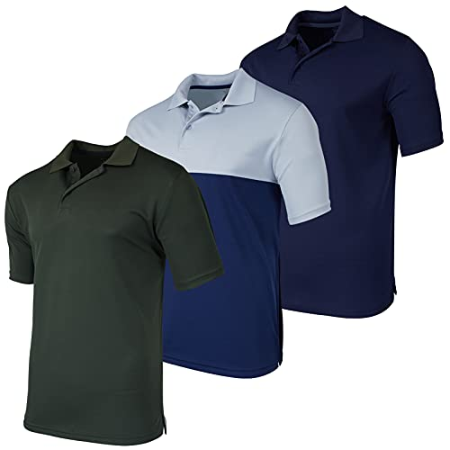 3 Pack: Big and Tall Men's Quick Dry Dri Fit Polo Shirt Short Sleeve Golf Tennis Clothing Active Wear Athletic Performance Tech Sports Essentials Wicking Clothes Plus Size Casual-Fit Top- Set 2, 3XLT is $34.99 (30% off)