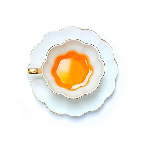 CUPWENH Tasses À Café en Porcelaine Blanche À Bordure Dorée Plat Tasses À Thé Bone China Céramique Thé 1 Tasse 1 Soucoupe