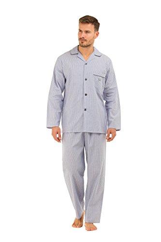 Herren Haigman Bedruckter 100{2e8b7e27c0f75f532b6be6ea69ad3f2e1144bc67d654a94b985c91ffb1cb9324} Baumwolle Schlafanzug lang Nachtwäsche gemütliche Mode Gr. X-Large, Light Blue Stripe