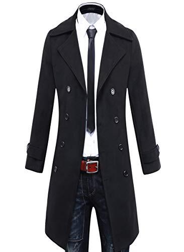 Beninos Men's Trench Coat Winter Long Jacket Double Breasted Overcoat (5625 Black, US:M/Asia XL)