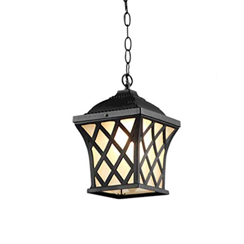OUPPENG European Retro Outdoor Waterproof Chandelier, Patio Terrace Lightweight Rural Patio Deck Gazebo Vine Glaze E27 (Color: BLACK, Size: 18.5 * 18.5 * 31.5CM) Restaurant Bar