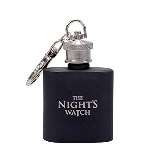 Game of Thrones Mini Flachmann, nachtkastje, zwart, bedrukt, van geborsteld roestvrij staal, inhoud ca. 50 ml.
