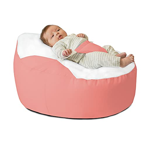 rucomfy Gaga™ Baby Beanbag Support Chair for 0-6 Months - Newborn Essentials (Coral)