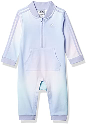 adidas Baby Girls' Long Sleeve Zip Front Printed French Terry Coveralls, Purple with Multicolor, 12M