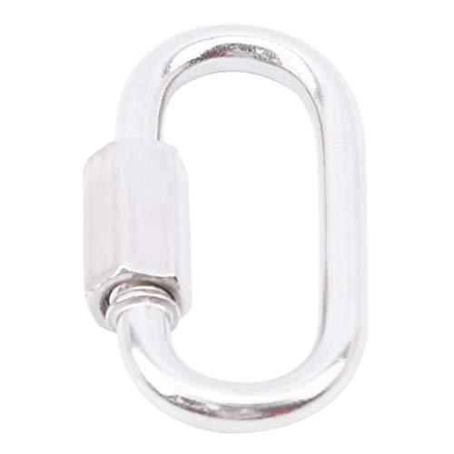 Idiytip Outdoor-Zubehör Aluminiumlegierung Oval High Strength Karabiner Schlüsselanhänger Karabinerhaken für Das kampierende Wandern, Silber M3.5