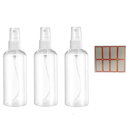 Spray Bottles, 1.69oz/50ml 3.38oz/100ml Clear Empty Fine Mist Plastic Mini Travel Bottle Set, Small Refillable Containers with Labels (3pcs 50ml)