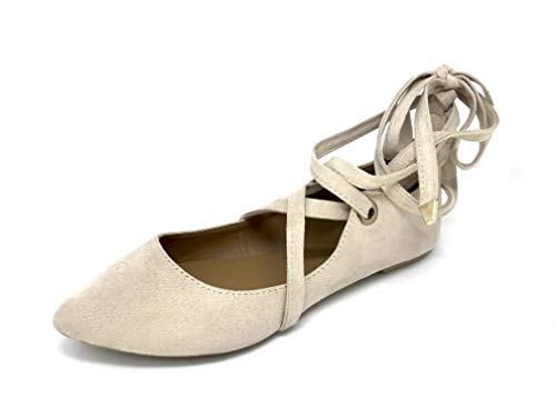 Women's Faux Suede Pointed Toe Ankle Strap Lace up Flat Ballerina Shoes (9, Tan)