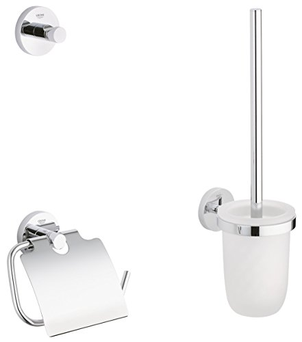 GROHE Essentials Accessoires Bath (WC-Set 3 in 1, Material: Glas / Metall) chrom, 40407001