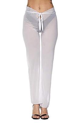 Pink Queen Women's Sheer Mesh Pants Swimsuit Bikini Bottom Cover ups White L