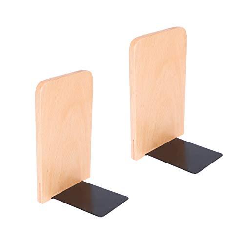OUNONA 2 Stück Holz Buchstützen Handgefertigte Buchenholz Buchstützen Schwere Holz Buchstützen für Bücherständer