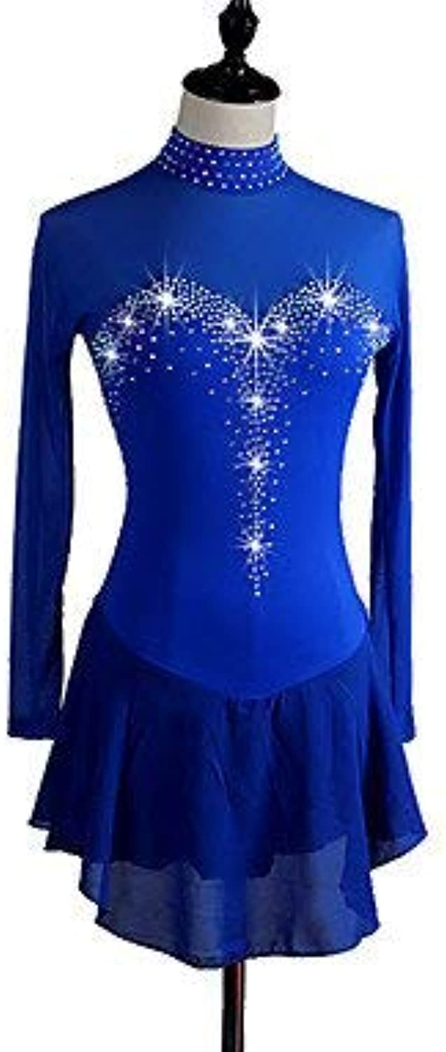 Handmade Ice Skating Dress For Women Girls Long-Sleeved Skating Roller Skating Dress Ice Skating Competition Dress Royal bluee
