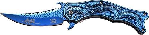 DARK SIDE BLADES Taschenmesser DS-A019 Serie, Messer BLAU DESIGNER Griff, Outdoormesser 10,16 cm ROSTFREI BLAU Klinge, Halbgezahnt 159gr Klappmesser