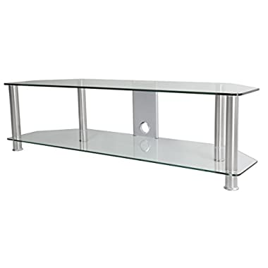 AVF SDC1400CMCC-A TV Stand with Cable Management for up to 65-inch TVs, Clear Glass, Chrome Legs