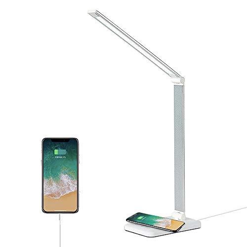SaponinTree Lámpara Escritorio LED, Flexo de Escritorio Regulable con Cargador Inalámbrico, 5 Modos, 5 Niveles de Brillo, Temporizador de 30 / 60 Minutos, Control Táctil, Protege a Ojos